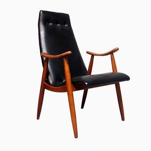 Schwarzer Mid-Century Sessel aus Kunstleder