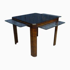 Table Basse Mid-Century avec Plateau en Verre, 1960s