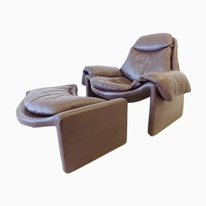 Leather Model P60 Lounge Chair and Ottoman Set by Vittorio Introini for Saporiti Italia, 1960s