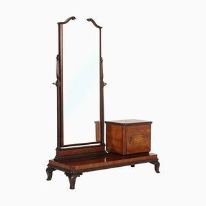 Consolle Art Nouveau in radica di noce con specchio smussato, inizio XX secolo