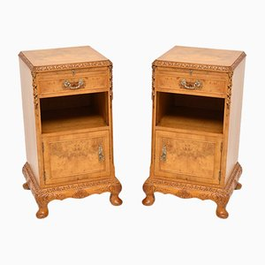 Vintage Burl Walnut Cabinets, 1930s, Set of 2