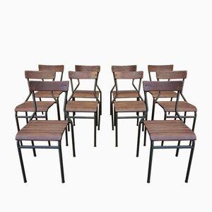 Stapelbare Vintage Esszimmerstühle aus Metall & Ulmenholz, 1930er, 10er Set