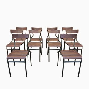 Vintage Metal and Orme Stackable Dining Chairs, 1930s, Set of 10