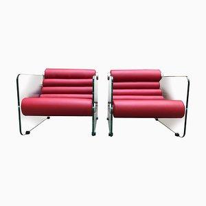 Sillones vintage de cuero rojo y vidrio de Fabio Lenci para Comfort Line, años 70. Juego de 2
