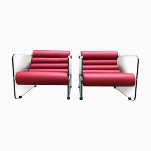 Vintage Red Leather and Glass Lounge Chairs by Fabio Lenci for Comfort Line, 1970s, Set of 2