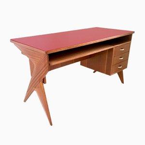 Mid-Century Italian Mahogany Desk, 1950s