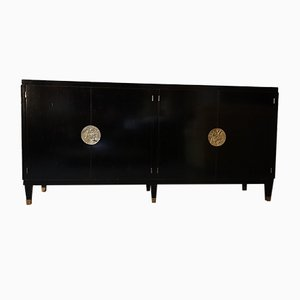 Art Deco Black Lacquered Sideboard by Jean Pascaud, 1940s
