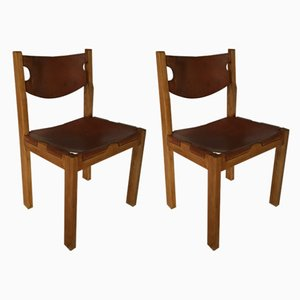 Elm and Cognac Leather Side Chairs from Maison Regain, 1960s, Set of 2