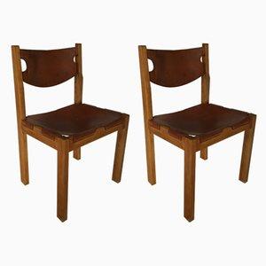 Sillas auxiliares de olmo y cuero coñac de Maison Regain, años 60. Juego de 2