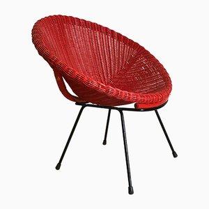 Sessel aus geflochtener Binse, 1950er