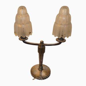 Lámpara de mesa francesa Art Déco en cascada de Marius Ernest Sabino para Sabino, años 30