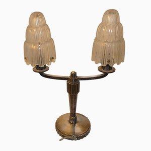 Lampe de Bureau Cascade Art Déco par Marius Ernest Sabino pour Sabino, France, 1930s