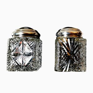 Art Deco French Cut Crystal Bottles, 1910s, Set of 2