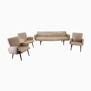 Mid-Century Leather Living Room Set by Miroslav Navratil, 1970s