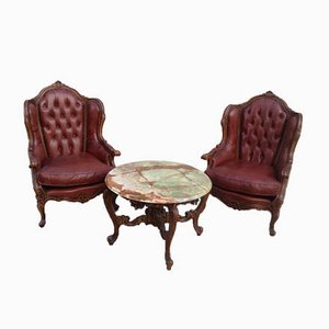 Antique Chester Lounge Chair and Onyx Table Set, 1900s