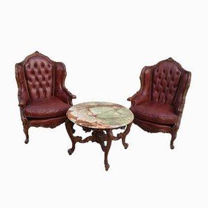 Juego de sillón Chester antiguo y mesa de ónix, década de 1900