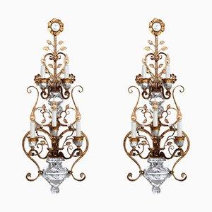 Apliques de cristal de hierro forjado dorado de Banci Firenze, años 60. Juego de 2