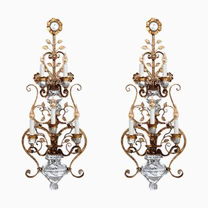 Gilded Wrought Iron and Crystal Glass Sconces by Banci Firenze, 1960s, Set of 2
