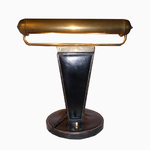 Art Deco French Brass and Black Leather Table Lamp, 1940s