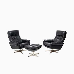 Scandinavian Black Leather Swivel Lounge Chairs and Ottoman Set, 1960s