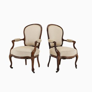 Antique Rococo Style Danish Armchairs, 1900s, Set of 2