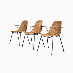 Sillas de cesta italianas de ratán de Gian Franco Legler, años 50. Juego de 3