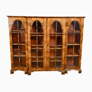 Antique Walnut Queen Anne Breakfront Bookshelf