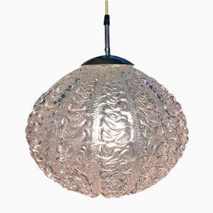 Deckenlampe aus gerilltem Glas, 1970er