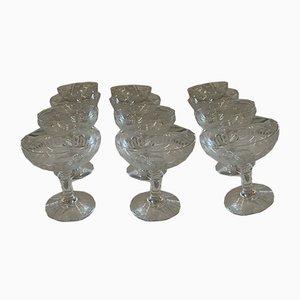 Antike Champagnergläser aus geschliffenem Kristallglas, 12er Set