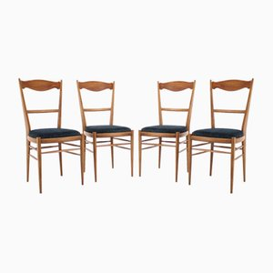 Italian Beech Dining Chairs, 1960s, Set of 4