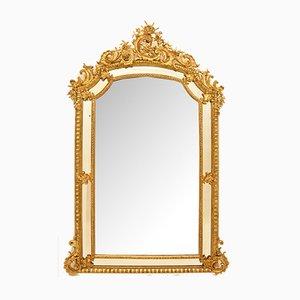 Abgeschrägter rechteckiger antiker Spiegel mit vergoldetem Rahmen