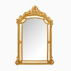 Antique Gilded Rectangular Beveled Mirror