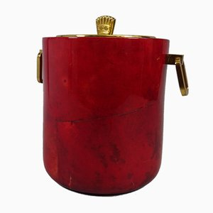 Vintage Goatskin Ice Bucket by Aldo Tura, 1960s
