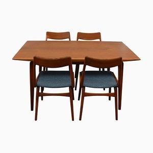 Mid-Century Boomerang Esszimmerstühle & Tisch Set aus Teak von Christensen, Alfred für Slagelse Møbelværk, 1960er