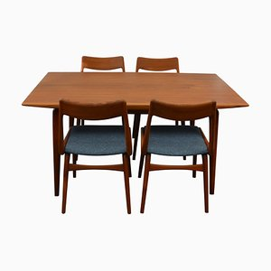 Mid-Century Teak Boomerang Dining Chairs and Table Set by Christensen, Alfred for Slagelse Møbelværk, 1960s