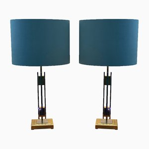 Bicolor Table Lamps by Willy Rizzo, 1970s, Set of 2