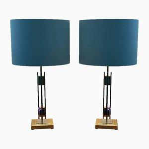 Zweifarbige Tischlampen von Willy Rizzo, 1970er, 2er Set
