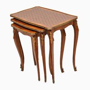 Mesas nido francesas vintage de madera real y palisandro, años 20