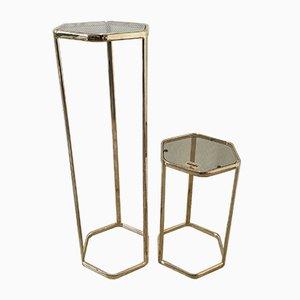 Mesas auxiliares hexagonales de vidrio bañado en oro y plateado de Morex, años 70. Juego de 2