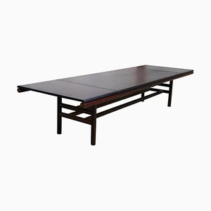 Large Mid-Century Leather and Wood Model Gritti Dining Table by Carlo Scarpa, 1970s