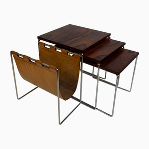 Rosewood Nesting Tables with Leather Magazine Rack, 1960s