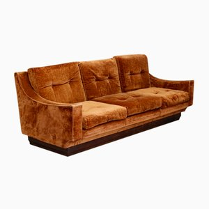 Mid-Century Orange Velvet Sofa by Luciano Frigerio, 1970s