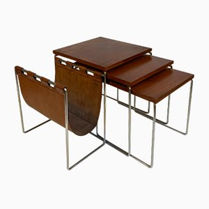 Nesting Tables with Leather Magazine Rack, 1960s