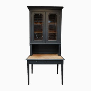 Black Pinewood Cabinet and Desk, 1930s