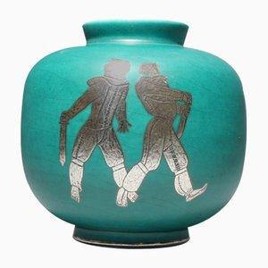 Vase Vintage en Grès et Argent par Wilhelm Kåge pour Gustavsberg, 1930s