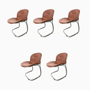 Italian Dining Chairs by Gastone Rinaldi for Rima, 1970s, Set of 5