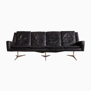 Danish Leather 4-Seater Sofa from Skjold Sorensen , 1960s
