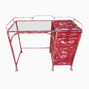 Antique Red Medical Desk, 1900s