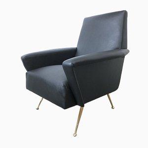 Italian Leather Lounge Chair, 1950s