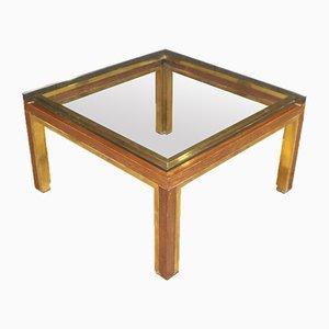 Mesa de centro italiana vintage de madera y latón dorado, años 70